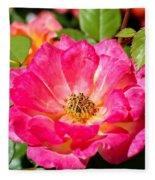 Bright Pink Rose Fleece Blanket