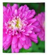 Bright Pink Zinnia Flowers Fleece Blanket