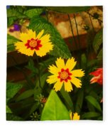 Bright Yellow Flowers Fleece Blanket