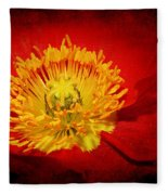Bright Yellow Poppy Center Fleece Blanket