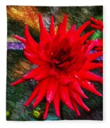 Brilliance In An Autumn Garden - Red Dahlia Fleece Blanket