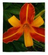 Brilliant Orange Lily Fleece Blanket