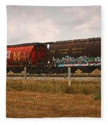 Bringing In The Wheat Canadian Railroad Fleece Blanket