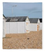 British Beach Huts In Sussex Fleece Blanket
