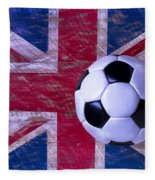 British Flag And Soccer Ball Fleece Blanket