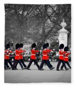 British Royal Guards March And Perform The Changing Of The Guard In Buckingham Palace Fleece Blanket