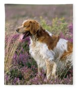 Brittany Dog, Standing In Heather, Side Fleece Blanket
