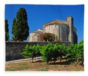 Brittany Vineyard And Monastery  Fleece Blanket
