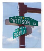 Broad And Pattison Where Philly Sports Happen Fleece Blanket