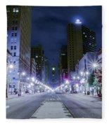 Broad Street At Night Fleece Blanket