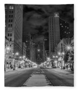 Broad Street At Night In Black And White Fleece Blanket