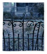 Broken Iron Fence By Old House Fleece Blanket