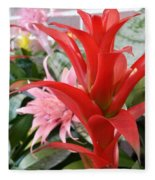 Bromeliad Red Pink Brick Fleece Blanket