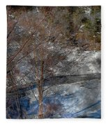Brook And Bare Trees - Winter - Steel Engraving Fleece Blanket