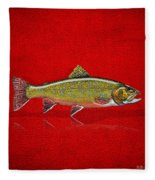 Brook Trout On Red Leather Fleece Blanket