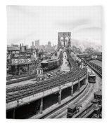 Brooklyn Bridge And Terminal - 1903 Fleece Blanket