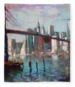 Brooklyn Bridge And Twin Towers Fleece Blanket