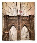 Brooklyn Bridge Approach Fleece Blanket