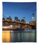 Brooklyn Bridge At Dusk Fleece Blanket