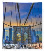 Brooklyn Bridge At Dusk Fleece Blanket