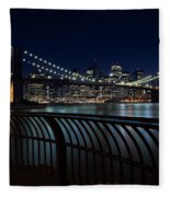 Brooklyn Bridge At Night Fleece Blanket