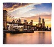 Brooklyn Bridge At Sunset  Fleece Blanket