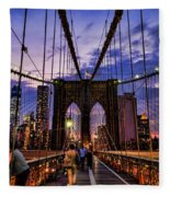 Brooklyn Bridge Evening Fleece Blanket