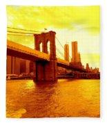 Brooklyn Bridge In Yellow Fleece Blanket