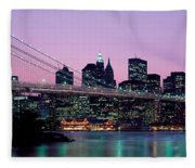 Brooklyn Bridge New York Ny Usa Fleece Blanket
