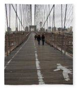 Brooklyn Bridge Walkway Fleece Blanket