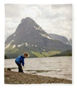 Brother And Sister Playing Near A Lake Fleece Blanket
