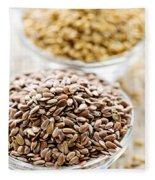 Brown And Golden Flax Seed Fleece Blanket