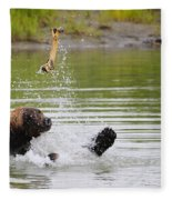 Brown Bear Playing With A Bone Fleece Blanket