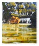 Brown Ducks Near The Waterfall Fleece Blanket
