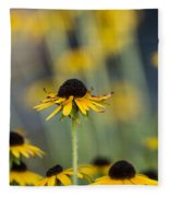Brown Eyed Susans On Yellow And Green Fleece Blanket