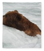 Brown Grizzly Bear Swimming  Fleece Blanket