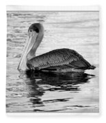 Brown Pelican - Black And White Fleece Blanket