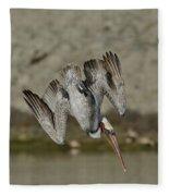 Brown Pelican Diving Fleece Blanket