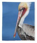 Brown Pelican Head Shot Fleece Blanket