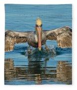 Brown Pelican Taking Off Fleece Blanket