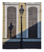 Brown Shutter Doors And Street Lamp - New Orleans Fleece Blanket