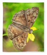 Brown Skipper Butterfly Square Fleece Blanket