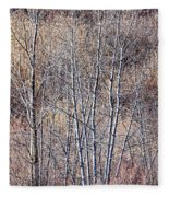 Brown Winter Forest With Bare Trees Fleece Blanket