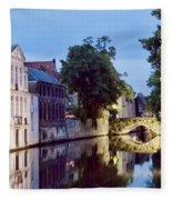 Brudges Canal Bridge Fleece Blanket