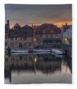 Bruges Canal Dawn Fleece Blanket