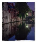 Bruges Canal Near Blind Donkey Alley  Fleece Blanket