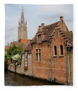 Bruges Houses With Bell Tower Fleece Blanket