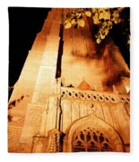 Brugge Cathedral At Night Fleece Blanket