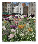 Brugge In Spring Fleece Blanket
