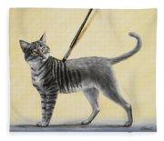 Brushing The Cat - No. 2 Fleece Blanket